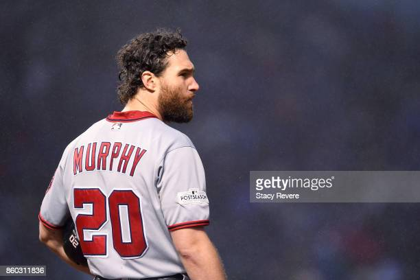 Daniel Murphy of the Washington Nationals stands on first base in the eighth inning during game four of the National League Division Series against...