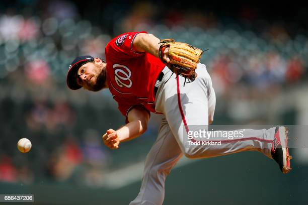 Daniel Murphy of the Washington Nationals throws to first for the out of Jaime Garcia in the sixth inning of the Atlanta Braves at SunTrust Park on...