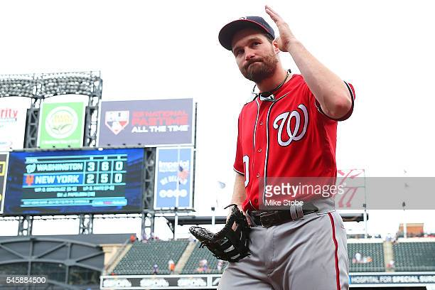 Daniel Murphy of the Washington Nationals waves to the crowd after defeating the New York Mets 32 at Citi Field on July 10 2016 in the Flushing...