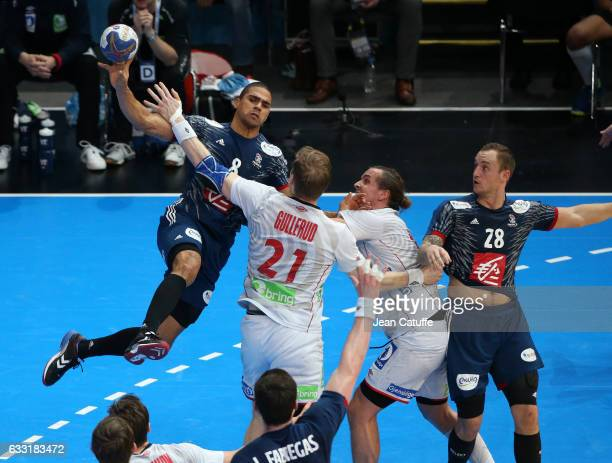 Daniel Narcisse and Valentin Laporte of France in action during the 25th IHF Men's World Championship 2017 Final between France and Norway at...
