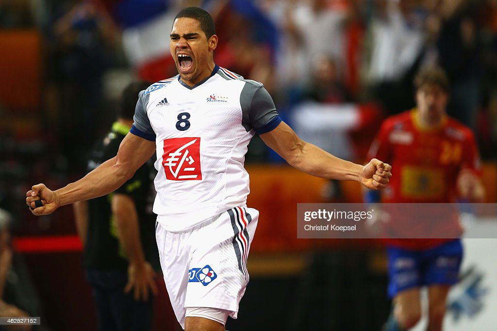 <a gi-track='captionPersonalityLinkClicked' href=/galleries/search?phrase=Daniel+Narcisse&family=editorial&specificpeople=791032 ng-click='$event.stopPropagation()'>Daniel Narcisse</a> of France celebrates a goal during the semi final match between Spain and France at Lusail Multipurpose Hall during the Men's Handball World Championship on January 30, 2015 in Doha, Qatar.