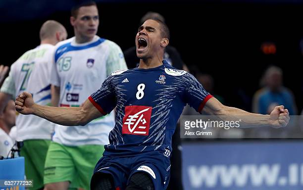 Daniel Narcisse of France celebrates during the 25th IHF Men's World Championship 2017 Semi Final match between France and Slovenia at Accorhotels...