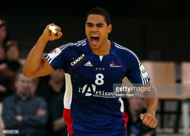 Daniel Narcisse of France celebrates during the Men's Handball European main round Group II match between Poland and France at the Olympia Hall on...