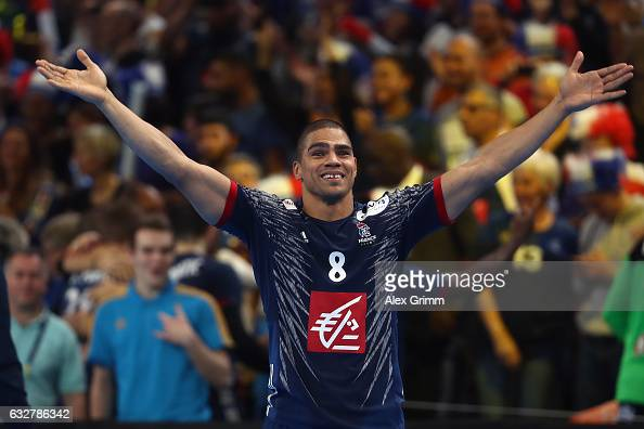 Daniel Narcisse of France celebrates with the fans after the 25th IHF Men's World Championship 2017 Semi Final match between France and Slovenia at...