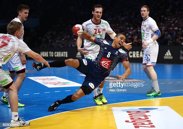 Daniel Narcisse of France goes to ground as he shoots during the 25th IHF Men's World Championship 2017 Final between France and Norway at...