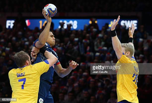 Daniel Narcisse of France in action during the 25th IHF Men's World Championship 2017 Quarter Final match between France and Sweden at Stade Pierre...