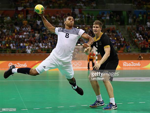 Daniel Narcisse of France shoots the winning goal during the Men's Handball Semifinal match between France and Germany on Day 14 of the Rio 2016...