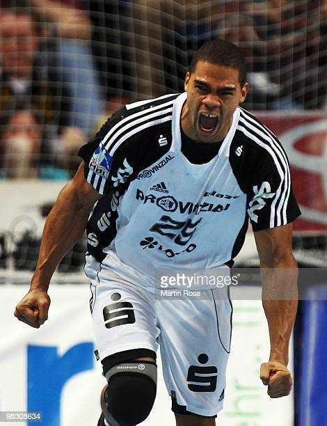 Daniel Narcisse of Kiel celebrates after scoring during the Toyota Handball Bundesliga match between THW Kiel and SG FlensburgHandewitt at the...