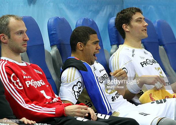 Daniel Narcisse of Kiel looks bored during the EHF Champions League second leg match between THW Kiel and Orlen Wisla Plock at Sparkassen Arena on...
