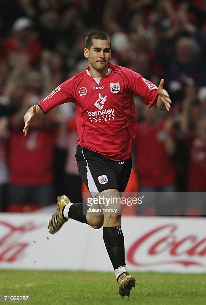Daniel Nardiello of Barnsley celebrates scoring a free kick during the League One Playoff Final match between Barnsley and Swansea City at the...