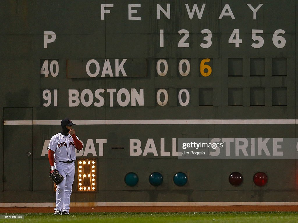 Daniel Nava #29 of the Boston Red Sox adjusts his cap during a six-run inning for the Oakland Athletics at Fenway Park on April 23, 2013 in Boston, Massachusetts.