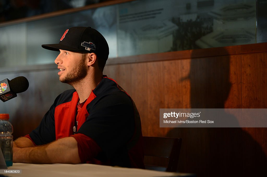 Daniel Nava #29 of the Boston Red Sox answers questions during media availability a day before the American League Championship Series on October 11, 2013 at Fenway Park in Boston, Masschusetts.