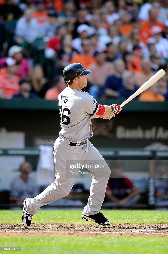 <a gi-track='captionPersonalityLinkClicked' href=/galleries/search?phrase=Daniel+Nava&family=editorial&specificpeople=670454 ng-click='$event.stopPropagation()'>Daniel Nava</a> #66 of the Boston Red Sox hits a home run in the seventh inning against the Baltimore Orioles at Oriole Park at Camden Yards on September 30, 2012 in Baltimore, Maryland.