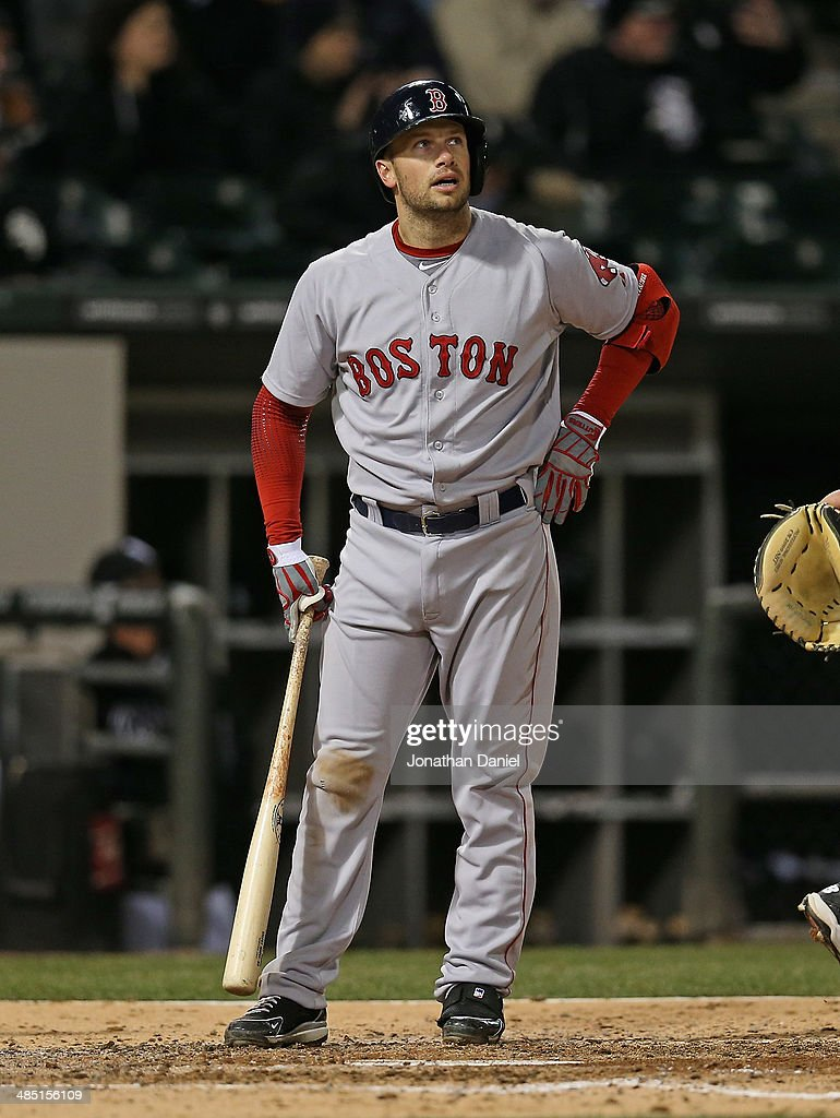 <a gi-track='captionPersonalityLinkClicked' href=/galleries/search?phrase=Daniel+Nava&family=editorial&specificpeople=670454 ng-click='$event.stopPropagation()'>Daniel Nava</a> #29 of the Boston Red Sox reacts after striking out in the 4th inning against the Chicago White Sox at U.S. Cellular Field on April 16, 2014 in Chicago, Illinois.