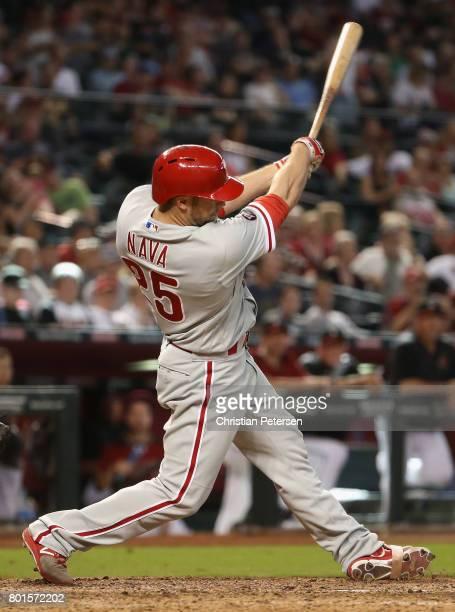 Daniel Nava of the Philadelphia Phillies bats against the Arizona Diamondbacks during the MLB game at Chase Field on June 25 2017 in Phoenix Arizona...