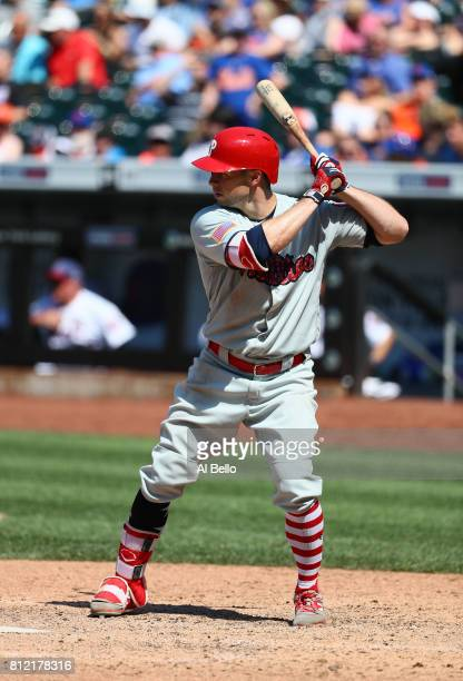 Daniel Nava of the Philadelphia Phillies bats against the New York Mets during their game at Citi Field on July 2 2017 in New York City