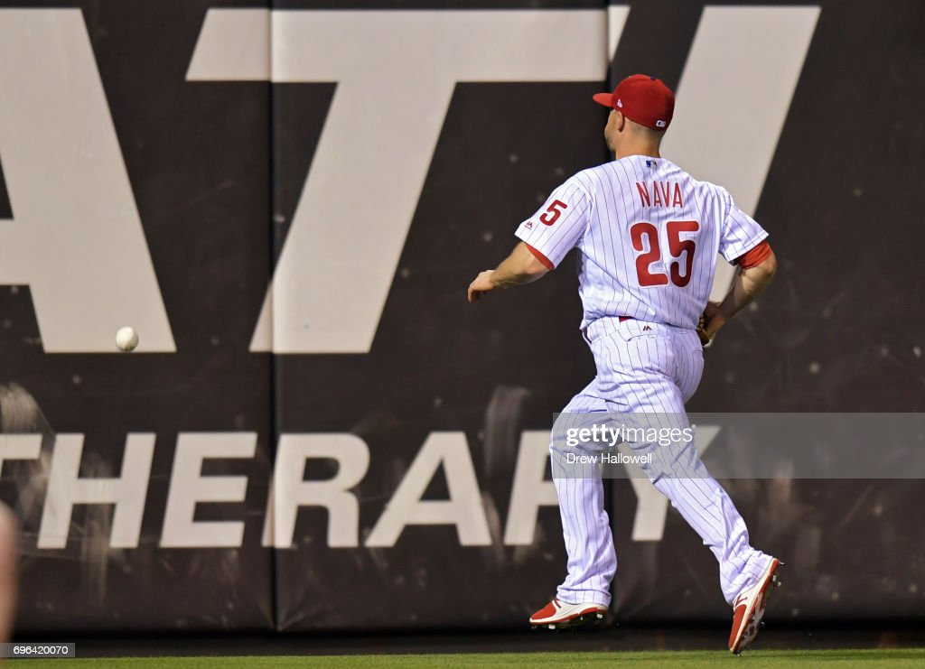 Daniel Nava #25 of the Philadelphia Phillies chases down the ball on a double hit by Chris Sale #41 of the Boston Red Sox in the eighth inning at Citizens Bank Park on June 15, 2017 in Philadelphia, Pennsylvania. The Phillies won 1-0.