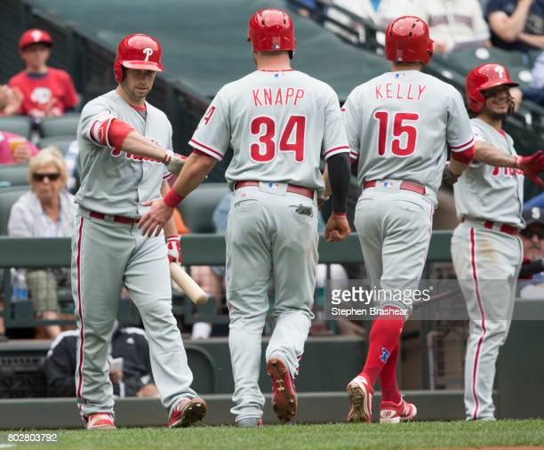 Daniel Nava of the Philadelphia Phillies congratulates Andrew Knapp of the Philadelphia Phillies and Ty Kelly of the Philadelphia Phillies after...