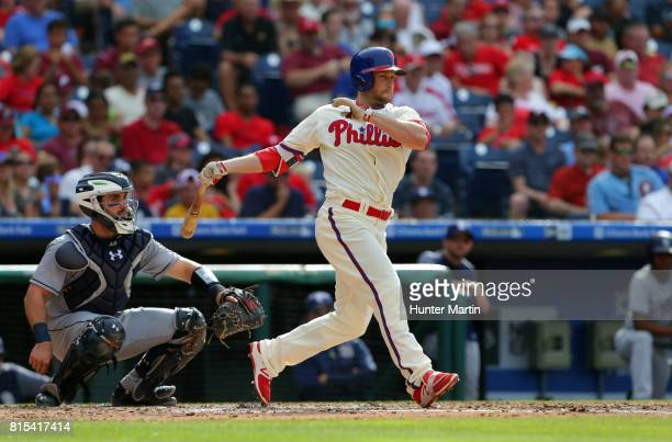 Daniel Nava of the Philadelphia Phillies during a game against the San Diego Padres at Citizens Bank Park on July 8 2017 in Philadelphia Pennsylvania...