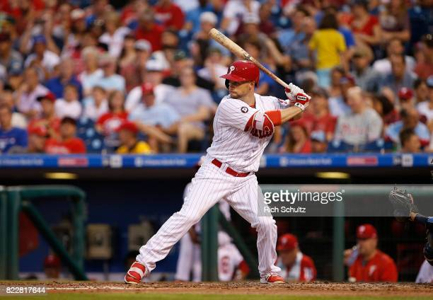Daniel Nava of the Philadelphia Phillies in action during a game against the Milwaukee Brewers at Citizens Bank Park on July 21 2017 in Philadelphia...