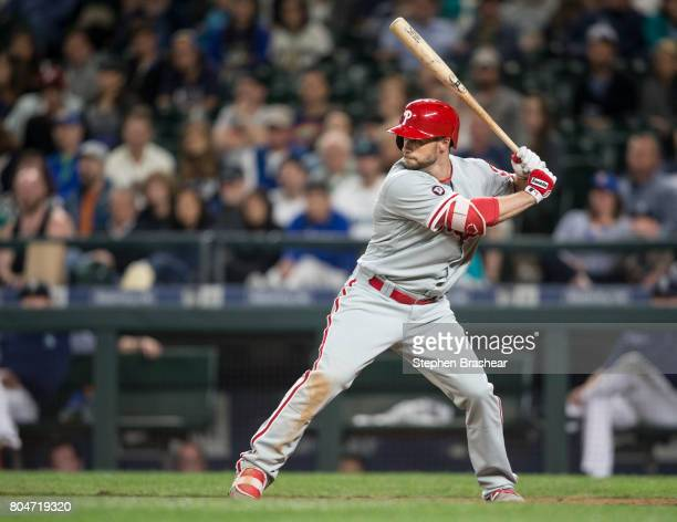 Daniel Nava of the Philadelphia Phillies waits for a pitch during an atbat in an interleague game against the Seattle Mariners at Safeco Field on...