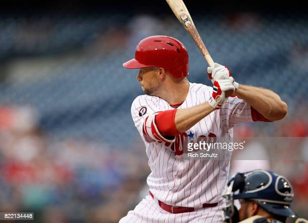 Daniel Nava of the Philadelphia Phillies with his Franklin batting gloves in action during a game against the Milwaukee Brewers at Citizens Bank Park...