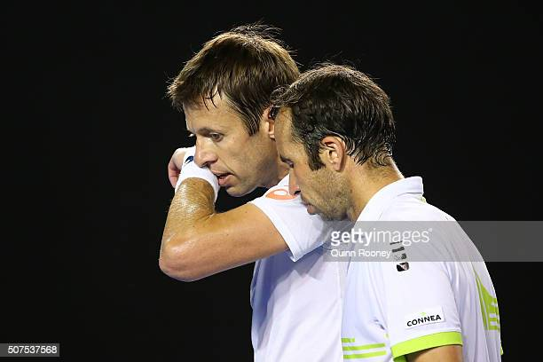 Daniel Nestor of Canada and Radek Stepanek of the Czech Republic compete in their Men's Doubles Final match against Jamie Murray of Great Britain and...