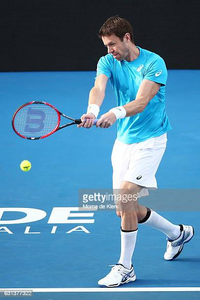 Daniel Nestor of Canada competes during day one of the 2017 World Tennis Challenge at Memorial Drive on January 10 2017 in Adelaide Australia