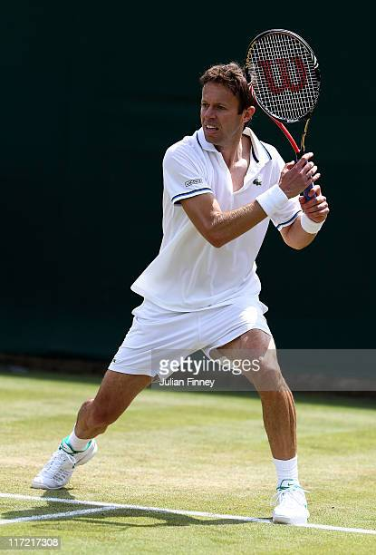 Daniel Nestor of Canada in action while playing with Max Mirnyi of Belarus during their first round doubles match against Leos Friedl of the Czech...