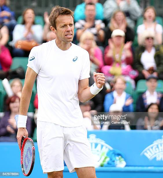 Daniel Nestor of Canada reacts during his Mens Doubles Final match with Dominic Inglot of Great Britain against Ivan Dodig of Croatia and Marcelo...