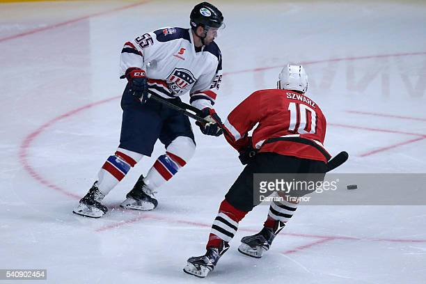 Daniel New of the USA controls the puck during the match between Team USA and Team Canada at Rod Laver Arena on June 17 2016 in Melbourne Australia