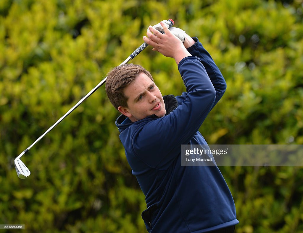 Daniel Noar of Burghill Valley Golf Clubb plays his first shot on the 1st tee during the PGA Assistants Championships - Midlands Qualifier at the Coventry Golf Club on May 26, 2016 in Coventry, England.