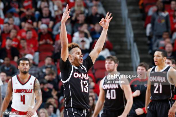 Daniel Norl of the Omaha Mavericks reacts after making a threepoint basket against the Louisville Cardinals in the second half of a game at KFC YUM...