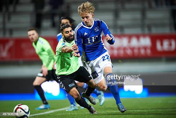 Daniel Norouzi of Vejle Boldklub and Bror Blume of Lyngby Boldklub compete for the ball during the Danish 1th Division Bet25 Liga match between...