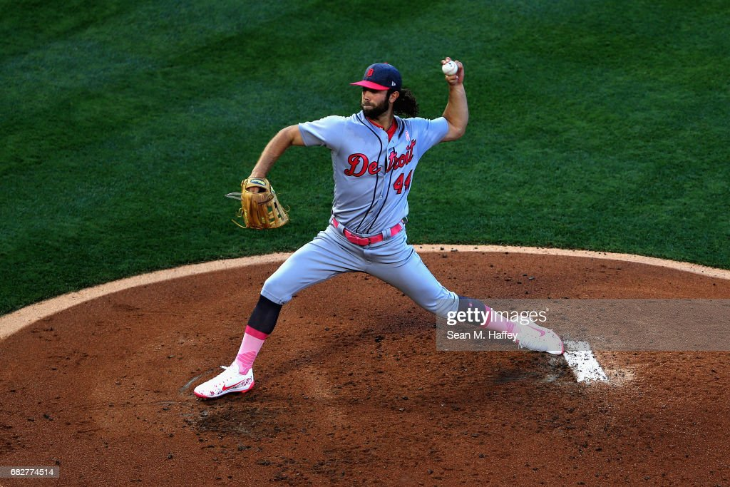 Daniel Norris #44 of the Detroit Tigers pitches during the first inning of a game against the Los Angeles Angels of Anaheim at Angel Stadium of Anaheim on May 13, 2017 in Anaheim, California.