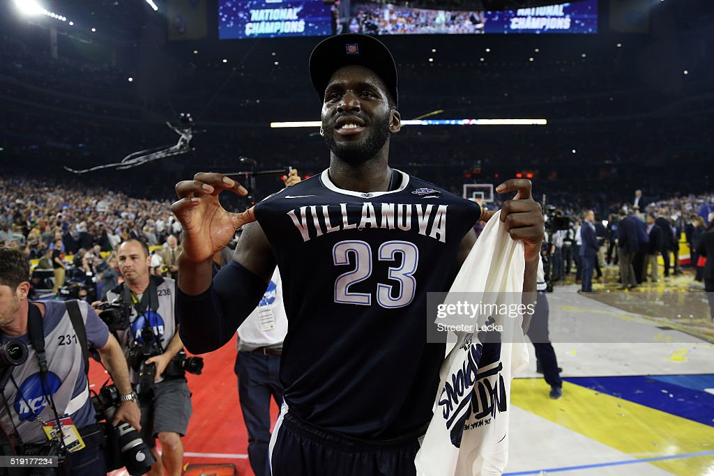 <a gi-track='captionPersonalityLinkClicked' href=/galleries/search?phrase=Daniel+Ochefu&family=editorial&specificpeople=9986325 ng-click='$event.stopPropagation()'>Daniel Ochefu</a> #23 of the Villanova Wildcats celebrates defeating the North Carolina Tar Heels 77-74 to win the 2016 NCAA Men's Final Four National Championship game at NRG Stadium on April 4, 2016 in Houston, Texas.