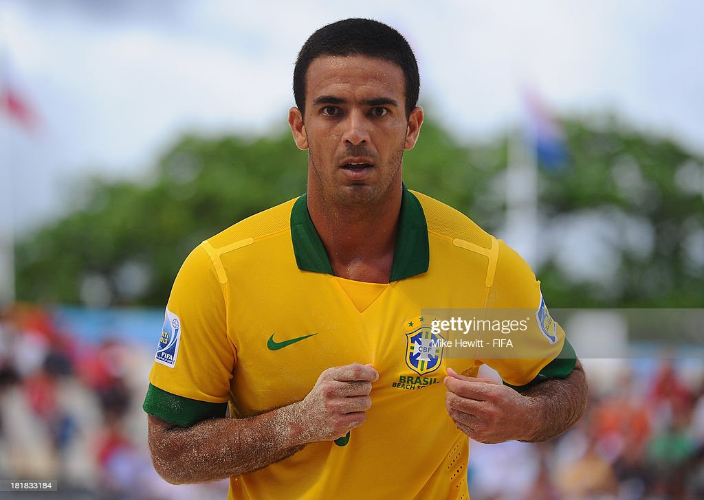 Daniel of Brazil celebrates after scoring during the FIFA Beach Soccer World Cup Tahiti 2013 Quarter Final match between Brazil and Japan at the Tahua To'ata Stadium on September 25, 2013 in Papeete, French Polynesia.