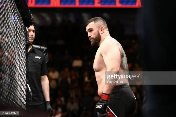 Daniel Omielanczuk enters the Octagon before facing Curtis Blaydes during the UFC 213 event at TMobile Arena on July 9 2017 in Las Vegas Nevada