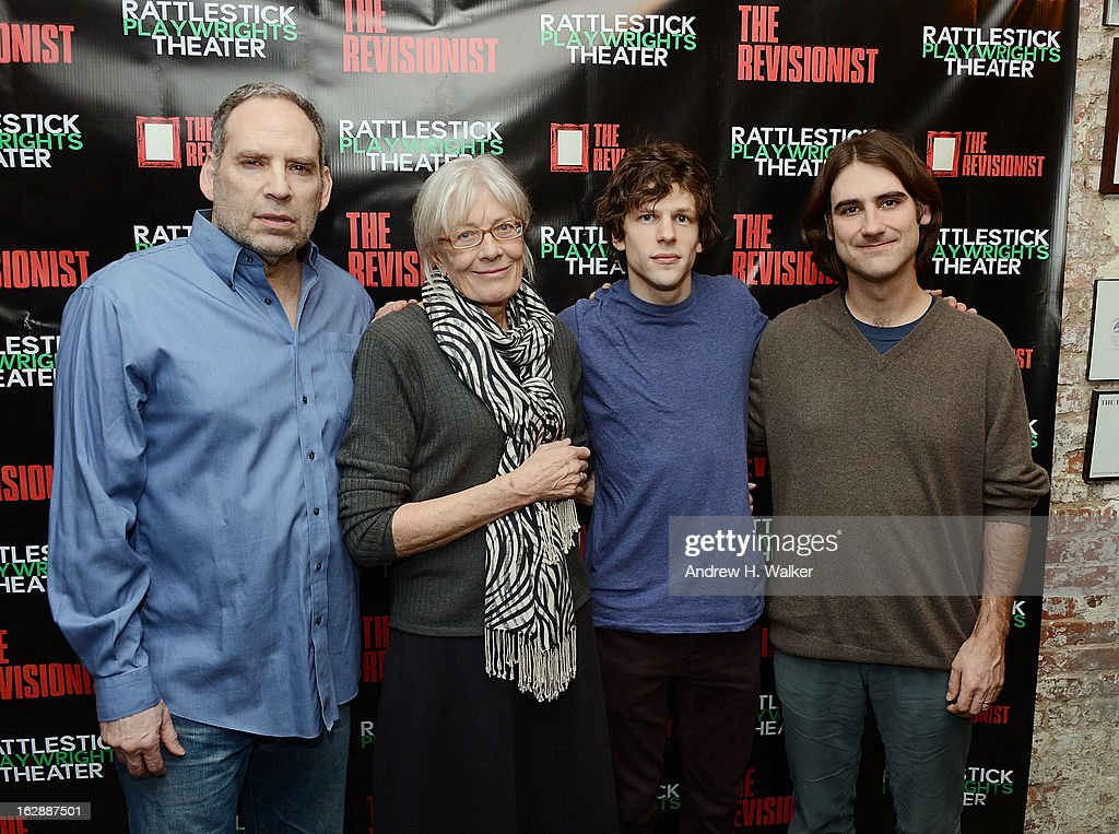 Daniel Oreskes, Vanessa Redgrave, Jesse Eisenberg and director Kip Fagan attend 'The Revisionist' opening night at Cherry Lane Theatre on February 28, 2013 in New York City.