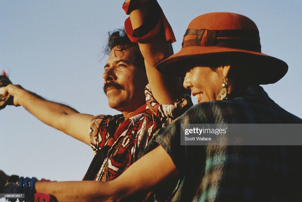 Daniel Ortega, former President of Nicaragua, with his wife, poet and revolutionary Rosario Murillo, in Nicaragua, 26th June 1990.