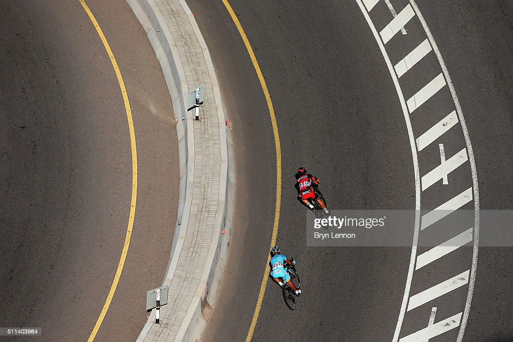<a gi-track='captionPersonalityLinkClicked' href=/galleries/search?phrase=Daniel+Oss&family=editorial&specificpeople=5734271 ng-click='$event.stopPropagation()'>Daniel Oss</a> of Italy and the BMC Racing Team leads <a gi-track='captionPersonalityLinkClicked' href=/galleries/search?phrase=Valerio+Agnoli&family=editorial&specificpeople=4838401 ng-click='$event.stopPropagation()'>Valerio Agnoli</a> of Italy and the Astana Pro Team down the descent of the Bousher Al Amerat on stage five of the 2016 Tour of Oman, a 119.5km road stage from Yiti (Al Sifah) to the Ministry of Tourism, on February 20, 2016 in Muscat, Oman.