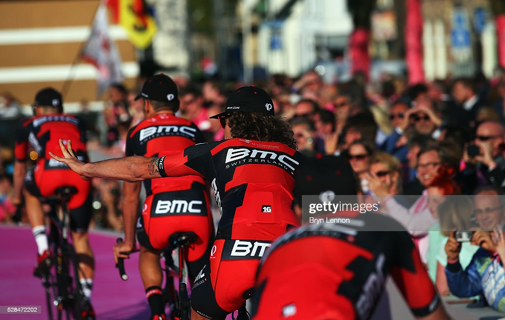 Daniel Oss of Italy and the BMC Racing Team waves to the crowds during the Opening Ceremony and official Team Presentation for the 2016 Giro d'Italia at the City Hall on May 05, 2016 in Apeldoorn, Netherlands.