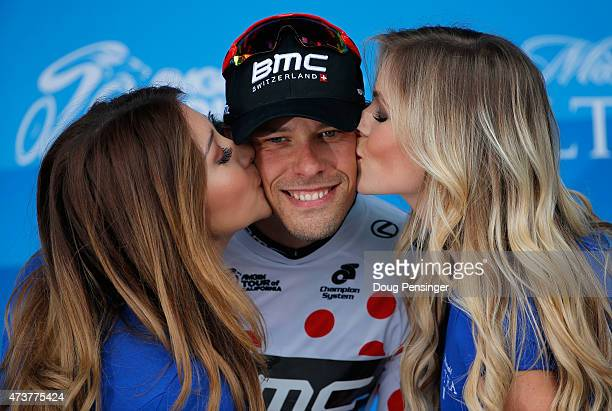 Daniel Oss of Italy riding for BMC Racing takes the podium after stage eight as he won the king of the mountains polka dot jersey of the 2015 Amgen...