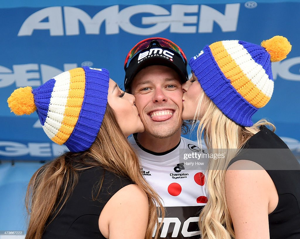<a gi-track='captionPersonalityLinkClicked' href=/galleries/search?phrase=Daniel+Oss&family=editorial&specificpeople=5734271 ng-click='$event.stopPropagation()'>Daniel Oss</a> of Italy riding for BMC Racing Team reacts as he claims the king of the mountain jersey after stage seven of the 2015 Amgen Tour of California on May 16, 2015 in Mt. Baldy, California.