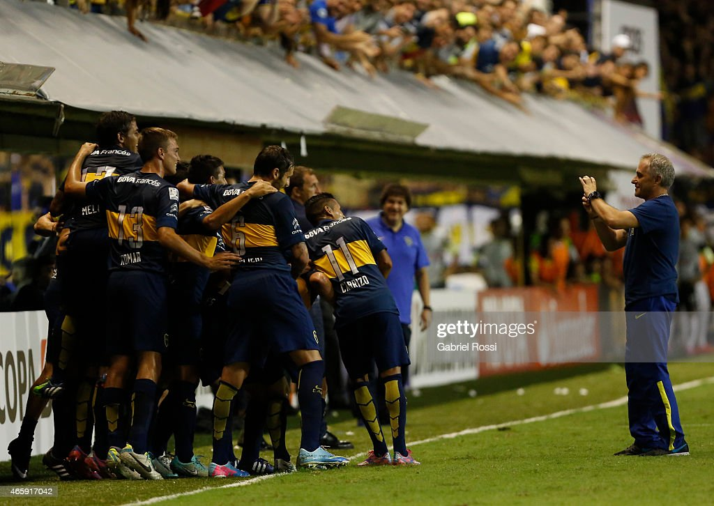 Daniel Osvaldo of Boca Juniors and teammates celebrate their team's fourth goal during a match between Boca Juniors and Zamora as part of third round of Group 5 of Copa Bridgestone Libertadores 2015 at Alberto J Armando Stadium on March 11, 2015 in Buenos Aires, Argentina.