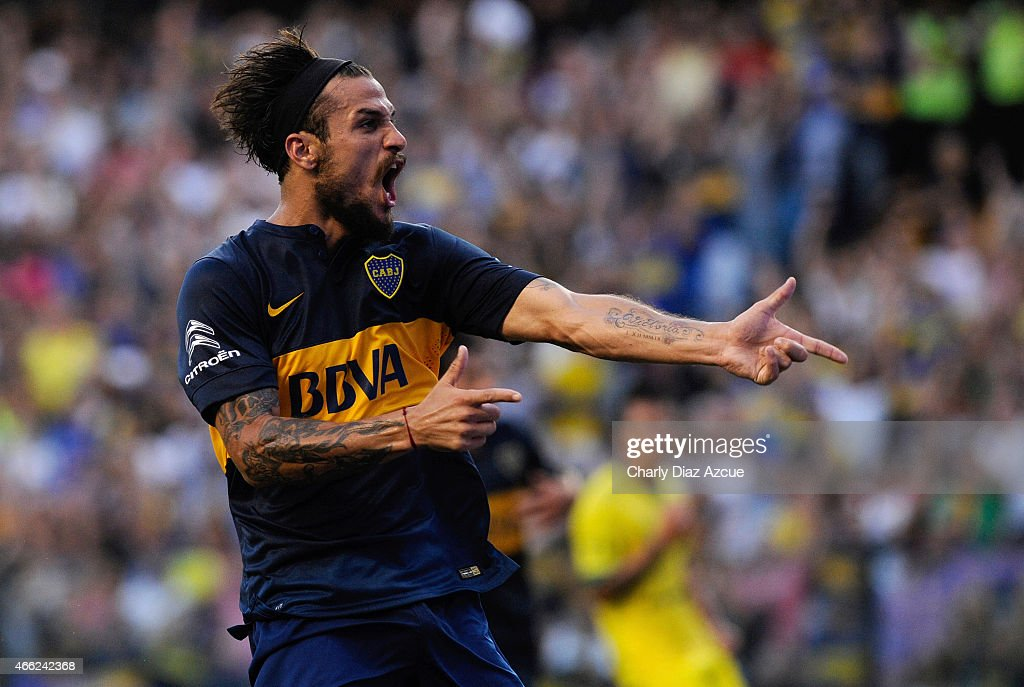 Daniel Osvaldo of Boca Juniors celebrates after scoring the second goal during a match between Boca Juniors and Defensa y Justicia as part of round 5 of Torneo Primera Division 2015 at Alberto J. Armando Stadium on March 14, 2015 in Buenos Aires, Argentina.