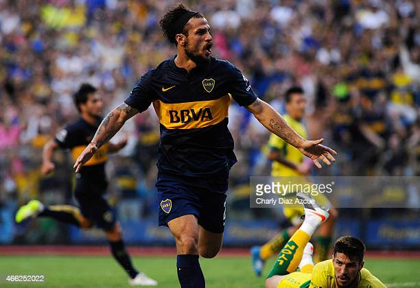 Daniel Osvaldo of Boca Juniors celebrates after scoring the second goal during a match between Boca Juniors and Defensa y Justicia as part of round 5...
