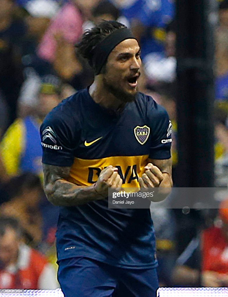Daniel Osvaldo of Boca Juniors celebrates after scoring the second goal of his team during a match between Boca Juniors and Estudiantes as part of seventh round of Torneo Primera Division 2015 at Alberto J Armando Stadium on March 29, 2015 in Buenos Aires, Argentina.