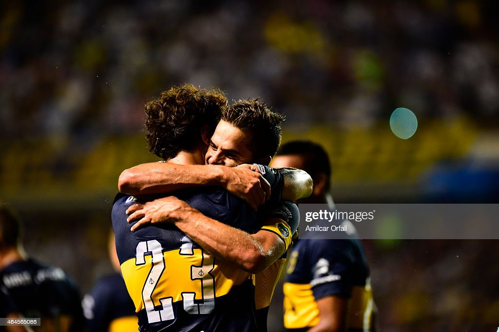 Daniel Osvaldo of Boca Juniors celebrates with <a gi-track='captionPersonalityLinkClicked' href=/galleries/search?phrase=Fernando+Gago&family=editorial&specificpeople=674234 ng-click='$event.stopPropagation()'>Fernando Gago</a> after scoring his team's second goal during a match between Boca Juniors and Montevideo Wanderers as part of Copa Bridgestone Libertadores 2015 at Alberto J. Armando Stadium on February 26, 2015 in Buenos Aires, Argentina.