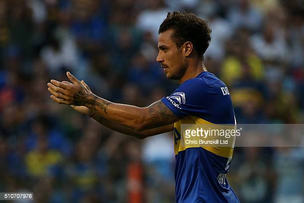 Daniel Osvaldo of Boca Juniors gestures during the Argentine Primera Division match between Boca Juniors and Atletico Tucuman at the Alberto J...